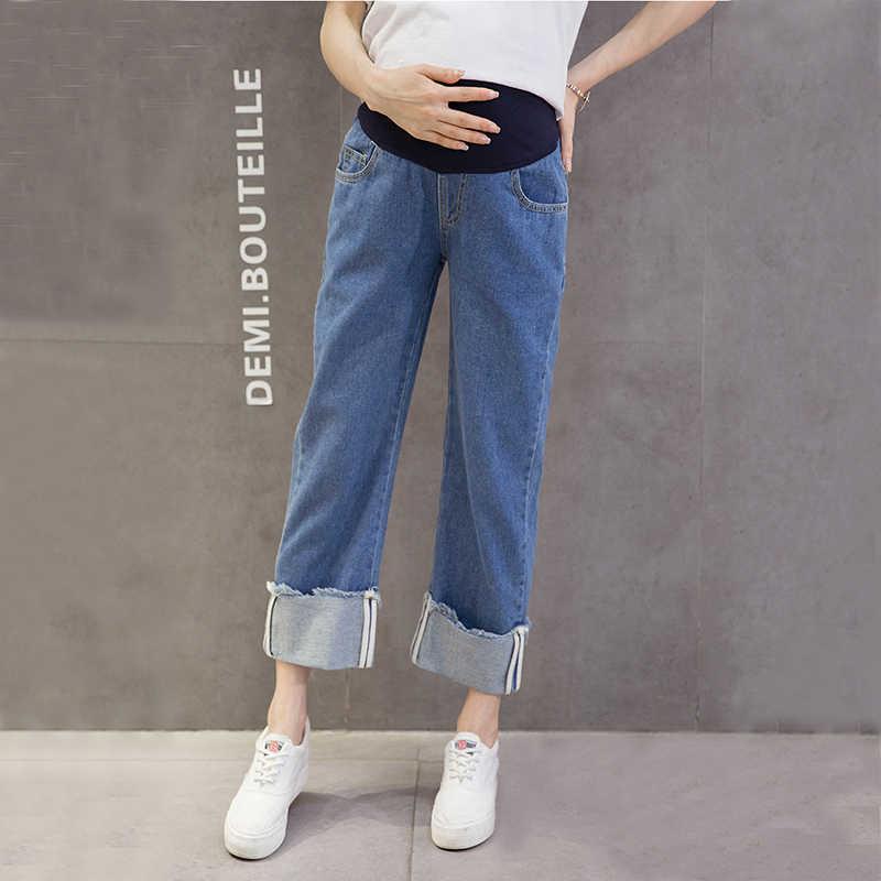 الحوامل جينز واسعة الساق جان للحمل النساء البطن السراويل الأمومة وزرة فضفاضة ملابس أمومة مستقيم السراويل الأزرق