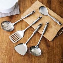 5 unids Acero Inoxidable Conjunto Higiénico Accesorios de Cocina Herramientas de cocina Utensilios de cocina Espátula Cuchara Turner Venta Caliente