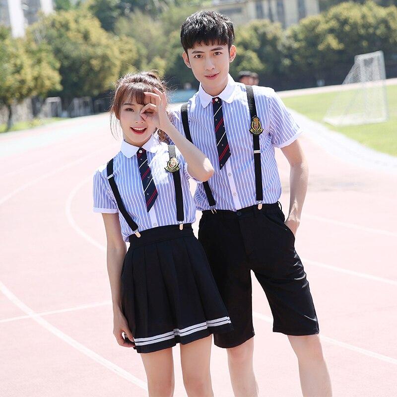 Uniforme d'école d'été ensemble sangle d'étudiant uniforme cravate Costume de marin ensemble Costume de Table uniforme d'école japonaise fille à manches courtes