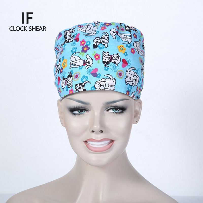 IF new cotton printing animal Pet doctor hat men and women beauty salon work cap Operating room hat doctor nurse dental caps