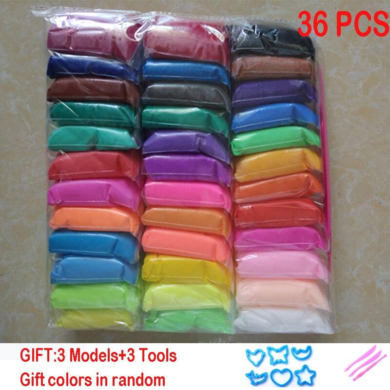 36 unids/set DIY segura y no tóxica maleable Fimo arcilla del polímero arcilla de polímero de arcilla plastilina arcilla