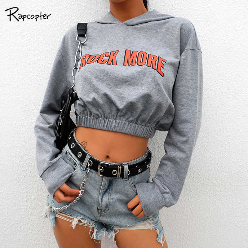 Rapcopter Womens Fashion Print Casual Pullovers Sweatshirt Hooded Autumn Short Sweatshirts O-neck Full Sleeve Female Hoodies