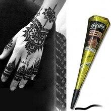 Цвета: черный, коричневый, красный белый хной конусов индийские татуировки хной паста для Временные татуировки, боди-арт Стикеры мехенди тела Краски