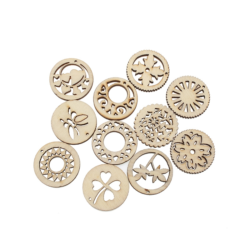 50Pcs 30mm Mixed Woody Round Wooden Crafts Embellishments MDF Unfinished Wood Scrapbooking For Craft Decoration Diy in Wood DIY Crafts from Home Garden