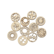 50Pcs 30mm Mixed Woody Round Wooden Crafts Embellishments MDF Unfinished Wood Scrapbooking For Craft Decoration Diy