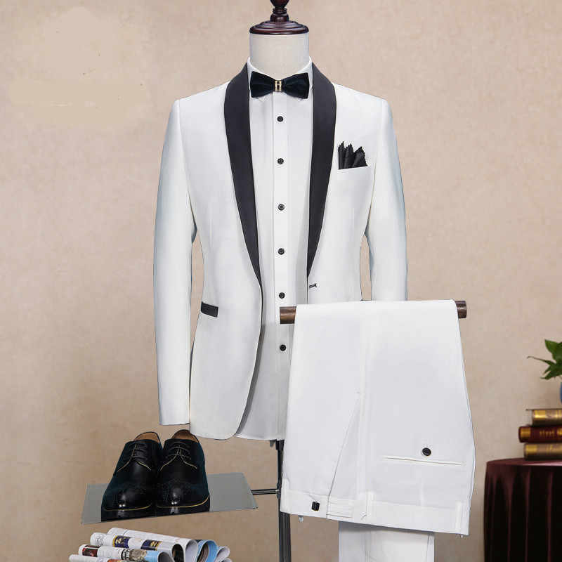 Blanc noir col Mariage costumes Homme Costume Homme Mariage fumant Masculino Terno Masculino Slim Fit veste + pantalon