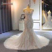 Sereia vestido de casamento 2020 com alças trabalho real alta qualidade sereia vestido de noiva
