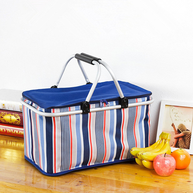Aluminum Alloy Foldable Cooler Bag Basket Thermal Food Box Cans Fruit Storage Picnic Lunch Insulation Tote Cool Bag Dot Package