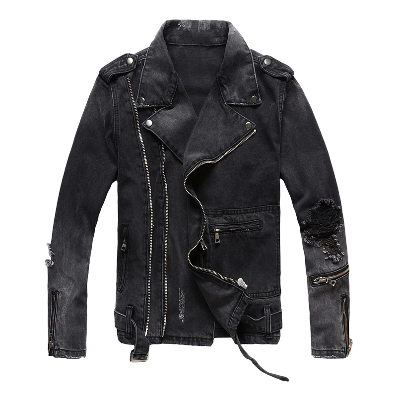 Fashion Streetwear Men Jacket Multi Zippers Decoration Black Destroyed Ripped Denim Jacket Men Coats Hip Hop Biker Jacket Homme