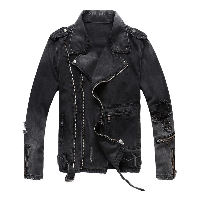 Fashion Streetwear Men Jacket Multi Zippers Decoration Black Destroyed Ripped Denim Jacket Men Coats Hip Hop Biker Jacket Homme