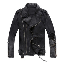 Fashion Streetwear Men Jacket Multi Zippers Decoration Black Destroyed Ripped Denim Coats Hip Hop Biker homme