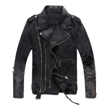 Fashion Streetwear Men Jacket Multi Zippers Decoration Black Destroyed Ripped Denim Jacket Men Coats Hip Hop Biker Jacket homme bleach wash extreme destroyed denim jacket