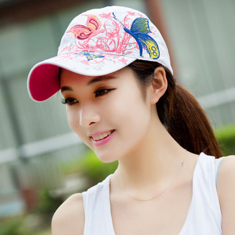 f3bccd43bb0 Baseball Cap For Women With Butterflies And Flowers Embroidery ...