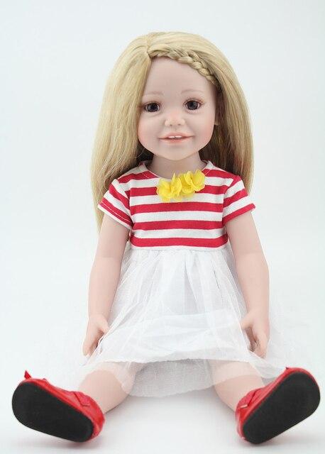 18 pulgadas full vinilo bonecas Niñas jugar muñeca pelo rubio en ...