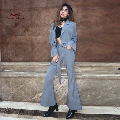 Ins new vertical grille horn hip-hop small suit two-piece female casual navel exposed fashion suit trend