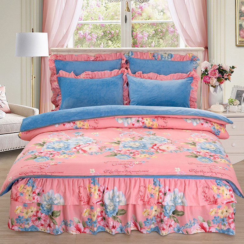 AB Side Two-sided Style Luxury  Bedding Set Soft Bedclothes Duvet/Quilt Cover Bed Linen sheet set 4 Pieces Bedding SetsAB Side Two-sided Style Luxury  Bedding Set Soft Bedclothes Duvet/Quilt Cover Bed Linen sheet set 4 Pieces Bedding Sets