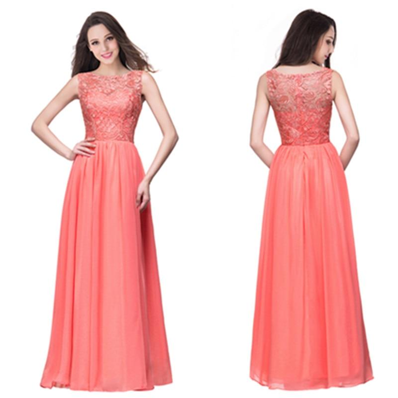 24 Hours Shipping Coral Lace Long Evening Dress In Stock Chiffon Evening Party Dresses Vestido De Festa
