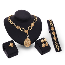 Trendy Jewelry Set Band 18K Gold Plated Fashion Party Wedding Bridal Rhinestone Necklace Earring Sets Bangle Ring Accessories