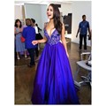 Elegant V-neck Royal Blue Long  Prom Dresses Women Formal Gowns  Prom Dresses Lace Sleeveless Floor Length