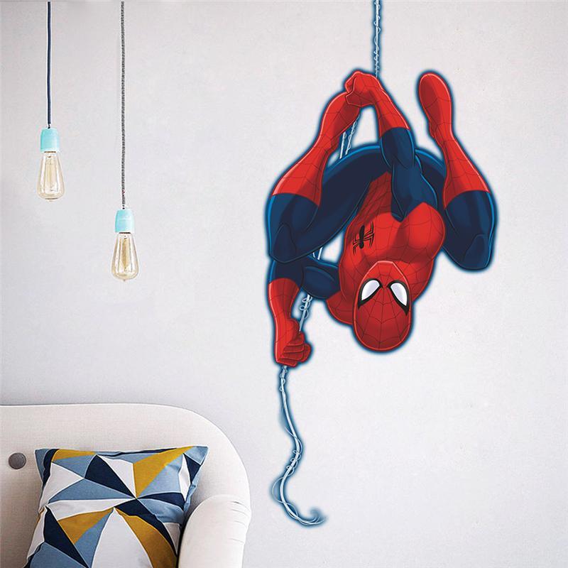 3d Spiderman Stickers muraux enfants chambre chambre décoration bricolage dessin animé Avengers Super héros film Mural Art affiche maison Stickers