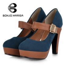 BONJOMARISA Mode Femmes Pompes Sexy Mary Janes Chaussures À Talons Hauts femmes Noir Bleu Vente Bout Rond Plate-Forme Pompes Grande Taille 34-39