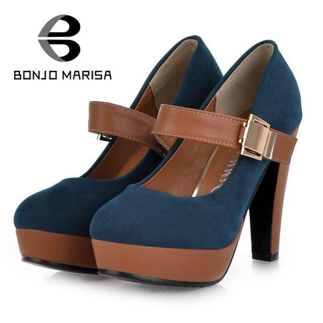 BONJOMARISA Manera de Las Mujeres Bombas Sexy Mary Janes Zapatos de Tacón Alto mujeres Negro Azul Venta Plataforma Punta Redonda Bombas de Gran Tamaño 34-39