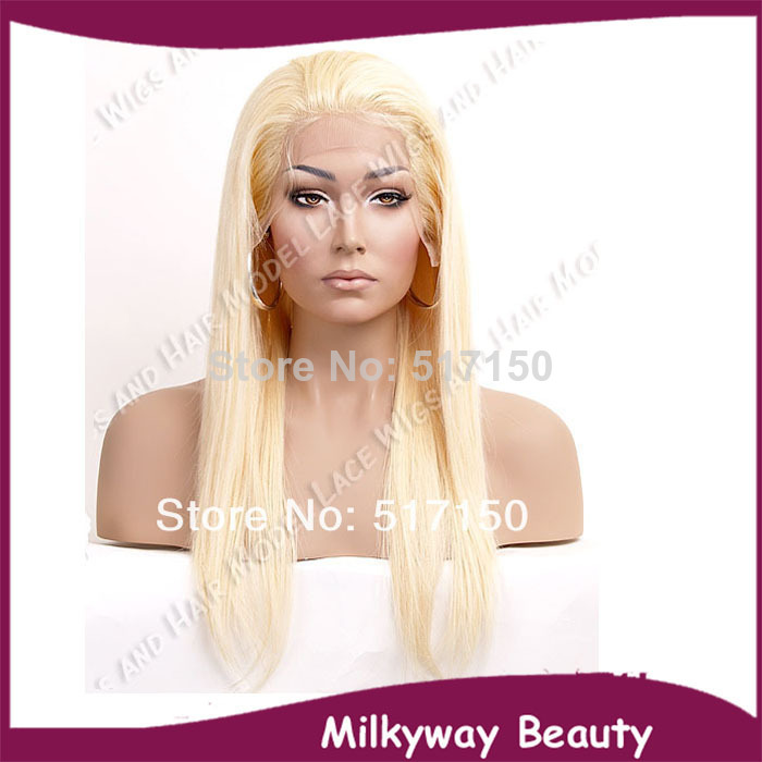 Free shipping milky blonde auburn blond silky straight synthetic hair lace front wig with baby hair