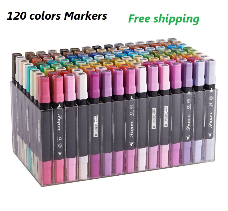 Free shipping Art and Graphic Drawing Manga Water Based Ink Twin Tip Dual Nip Brush Sketch Marker Pen 36/48/72/120 Colors /SET футболка классическая printio 62 2% в саратове