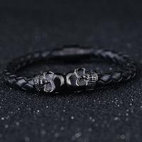 Hot Selling Trendy Zwart Lederen Armband voor Mannen Skeletschedel Charm 20 CM Lengte mannen Titanium Stalen Manchet Bangle