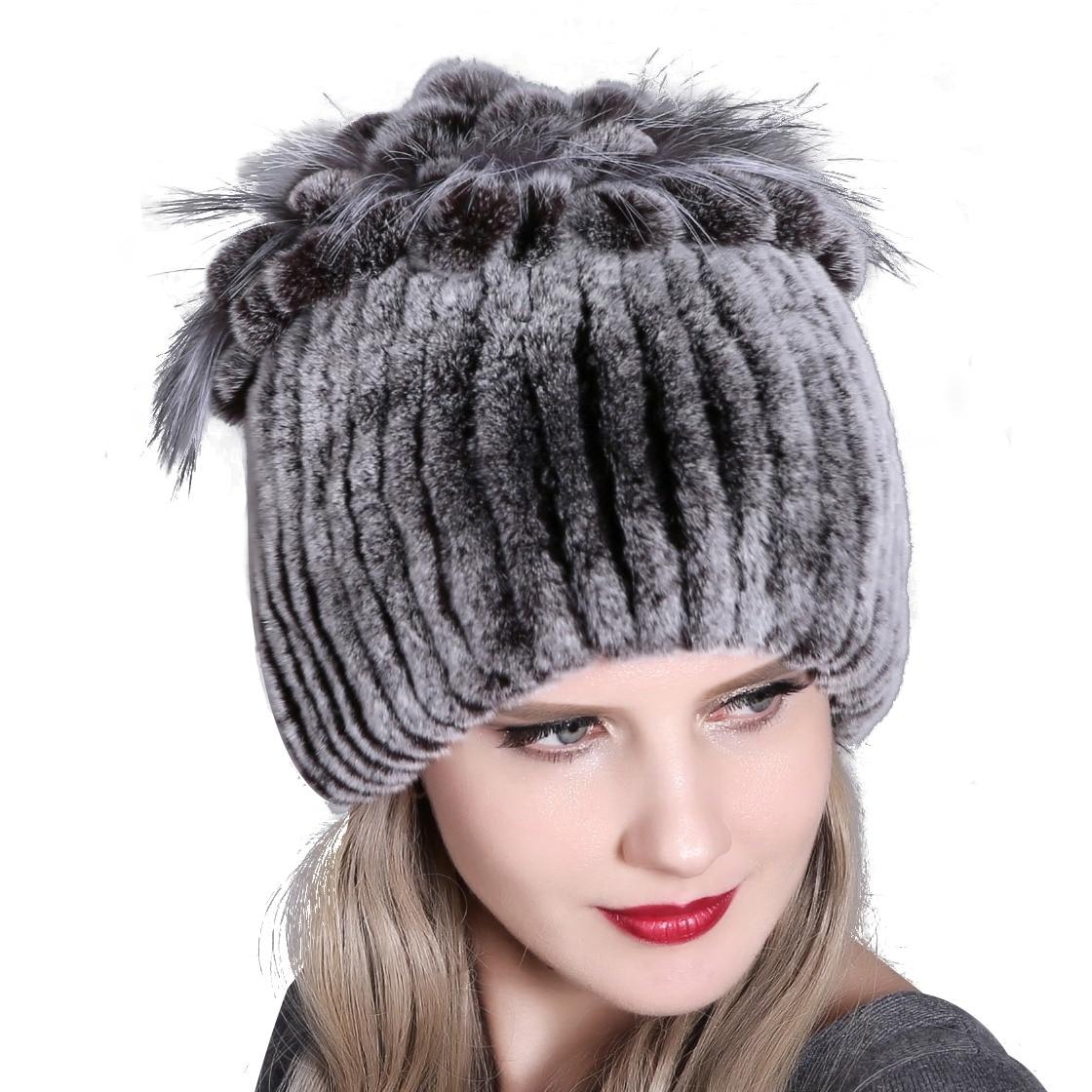 7d688e34376f Women fur hat for winter natural rex rabbit fox fur cap russian female fur  headgear 2018 brand new fashion warm beanies cap