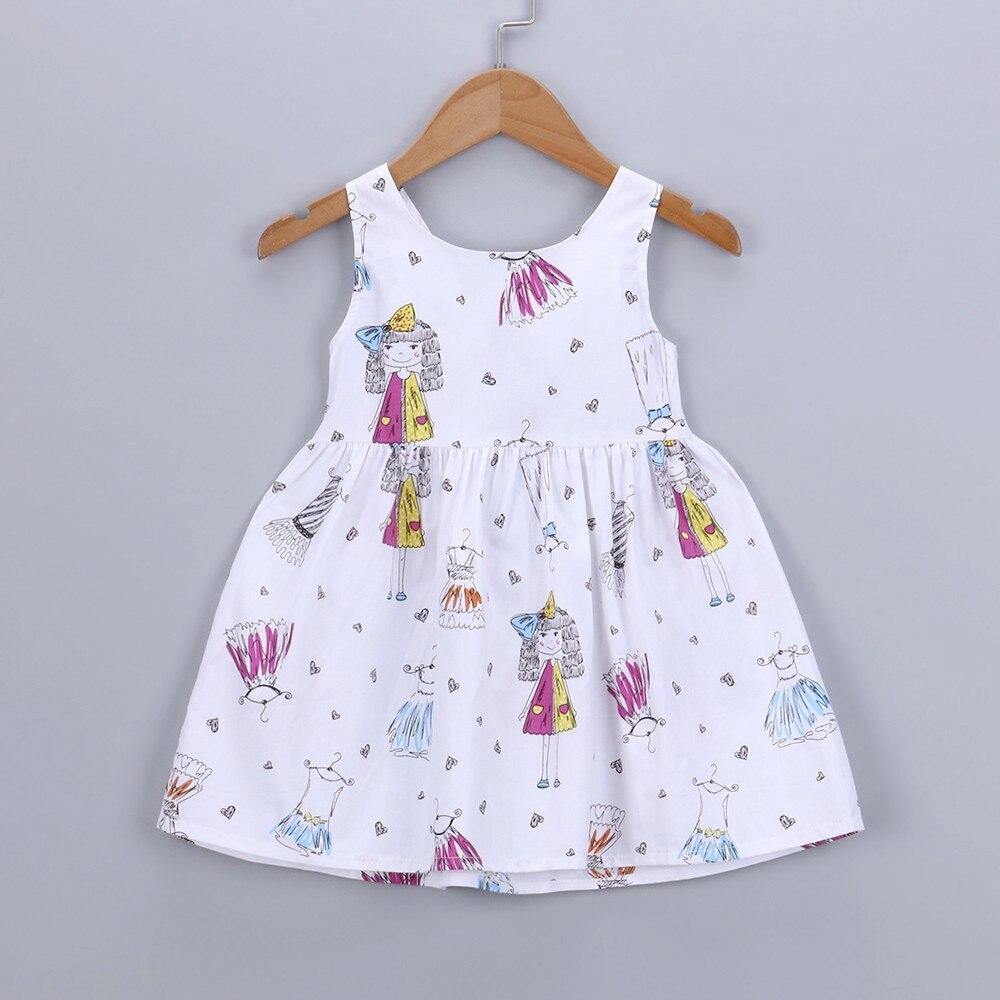 2018 New Fashion Children Kid Girl Cartoon Heart Print Bowknot Sleeveless Princess Dresse Clothes High Quality Drop Shipping