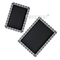 Black Cake Tray Metal Iron Rectangle Plate For Party Cupcake Cake Baking Tool Display Plate For