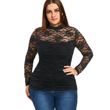 Casual Sheer Smocked Top Turtle Neck Slim Bottom Shirt Blusas Long Sleeve Mesh See Through Tee Tops Plus Size 5XL