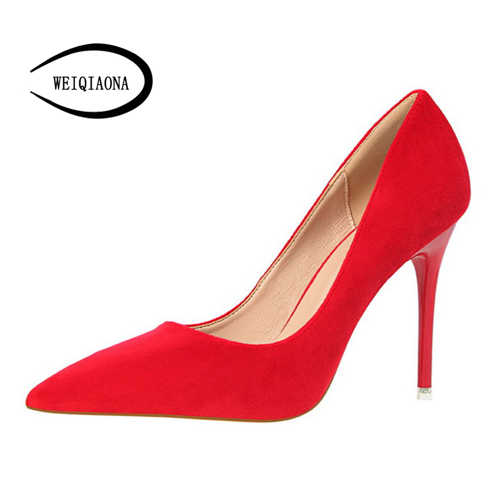 Women's Shoes Elegant and simple Fine with high heels Shallow mouth Pointed Suede Sexy was thin Single shoes High heels banquet 16cm fine with high heels female korean version of the sexy thin bow shoes round head shallow mouth shop shoes