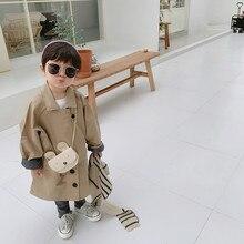 Новая Осенняя дизайнерская Длинная ветровка в Корейском стиле для маленьких мальчиков, Свободные повседневные детские пальто, детская шикарная верхняя одежда цвета хаки