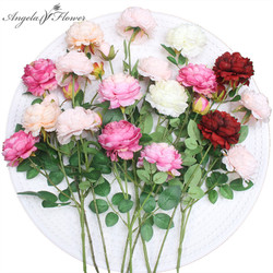 3 branch peony rose fake flower wall Western-style DIY wedding home party office hotel desk decoration flores artificiales peony
