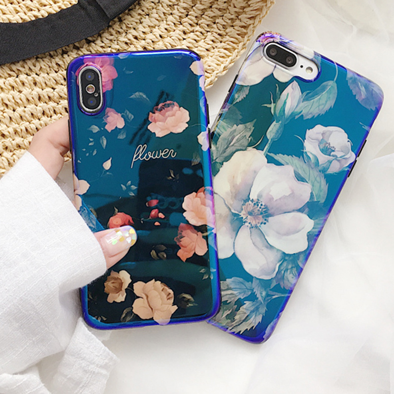 Luxury Blu-Ray Peony Camellia Flower Phone Case For iphone X 6 6S Plus 7 7Plus 8 Plus Glossy Vintage Floral Soft IMD Back Cover