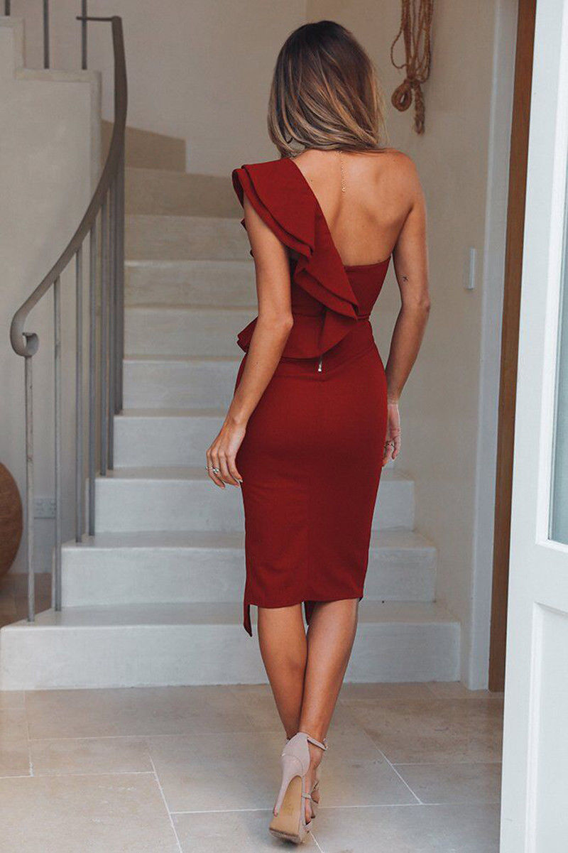 Hot Women 39 s Bandage Dress Bodycon Ruffles Skinny Solid One Shoulder V Neck Sexy Sleeveless Lady Evening Party Club Short Dresses in Dresses from Women 39 s Clothing