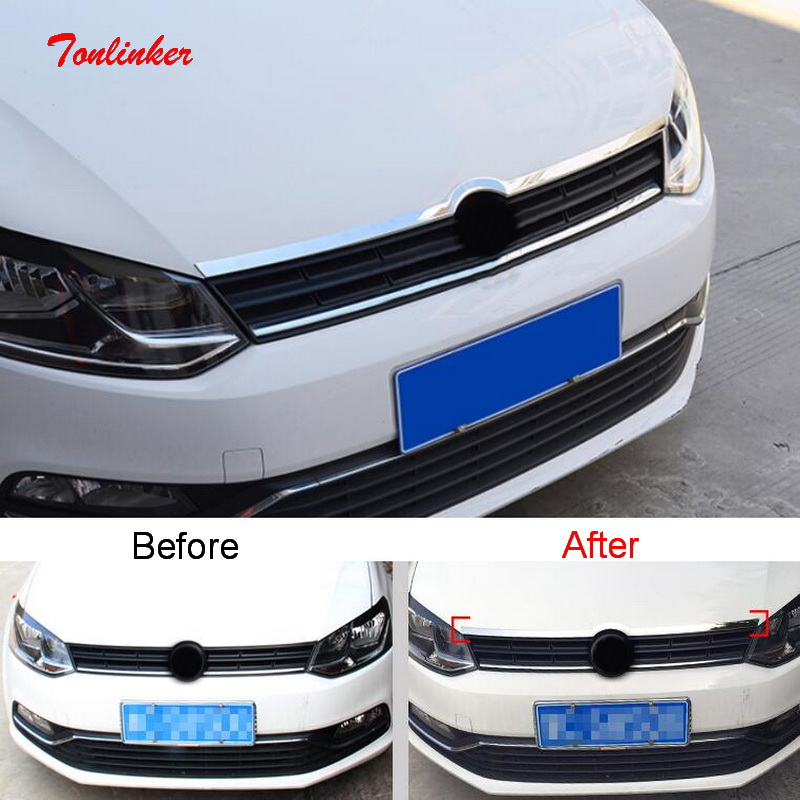 Tonlinker Above Front logo Cover case Stickers For Volkswagen POLO 2011 18 Car Styling 1 pcs Stainless Steel Cover sticker in Chromium Styling from Automobiles Motorcycles
