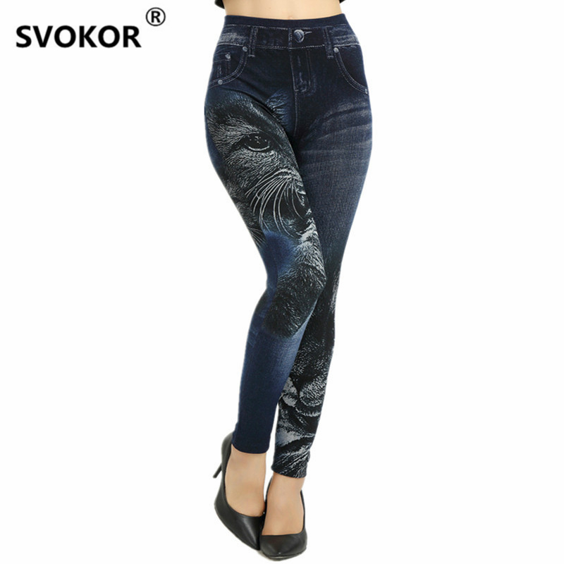 2018 new hot sale seamless super stretch jeans Black kitten printing soft ladies leggings women sports pants girl