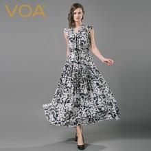 VOA 2017 Summer Silk Vintage Dresses Women Short Sleeve Draped V-Neck Maxi Robe Longue Beach Vestido Female A6603