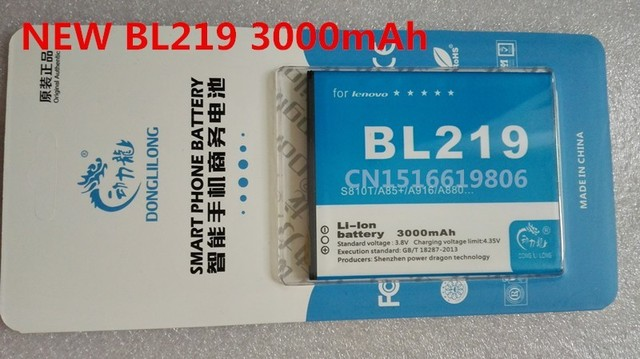 2017 NEW BL219 3000mAh Rechargeable Battery For Lenovo A889 A880 A890E A850 Plus A916 S810T battery