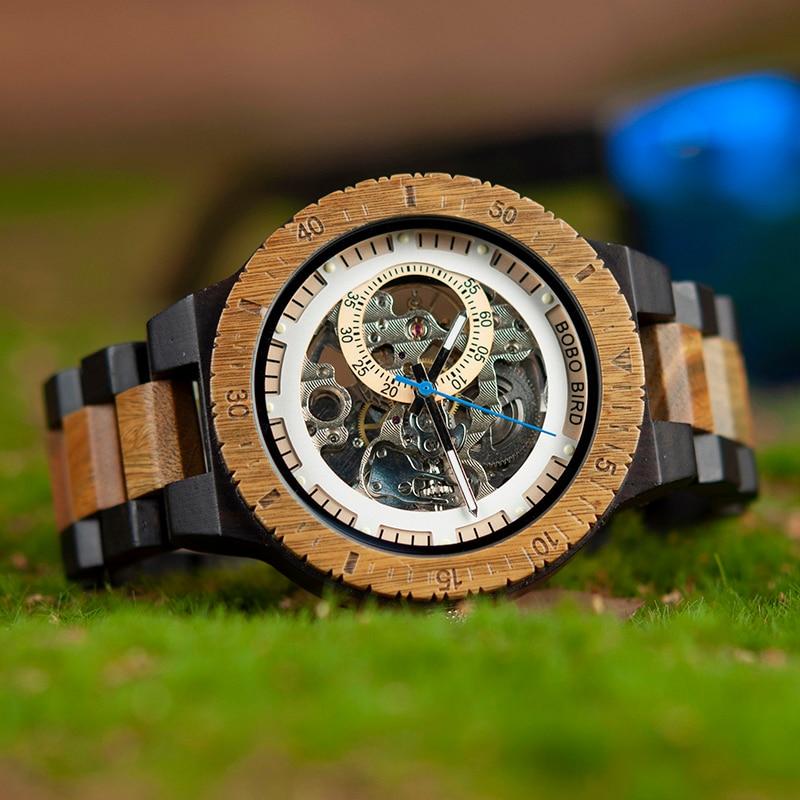 BOBO BIRD Wooden Mechanical Watch Men Relogio Masculino Big Mens Watches Top Brand Luxury Timepieces erkek kol saati W-R05
