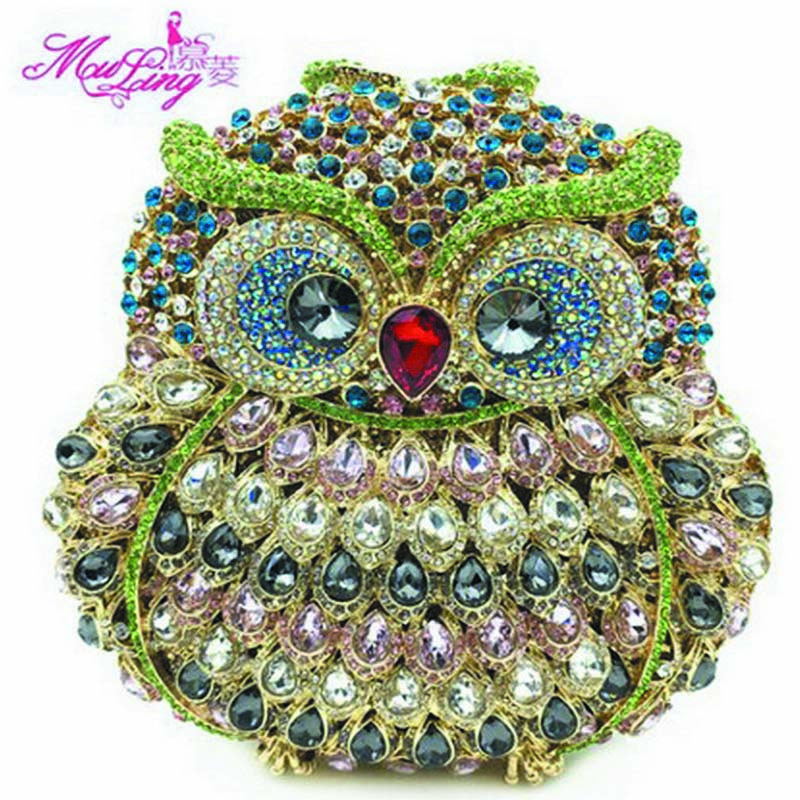 New Brand Luxury Crystal Clutches Evening Bag Owl Party Bag Women Wedding Bag Chain Prom Diamond Purse Day Clutches Ladies Gift luxury real new arrival day clutches diamonds flower women bag banquet crystal handbag wedding party handbags night clubs purse