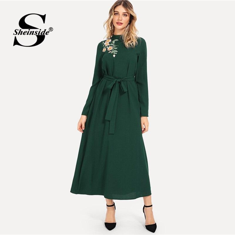8377b371786d601 Sheinside элегантный зеленый цветок вышитые поясом платье для женщин 2019  Весна повседневное кружево до макси платья