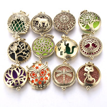 New Aroma Diffuser Necklace Open Antique Vintage Lockets Pendant Perfume Essential Oil Aromatherapy Locket with Pads