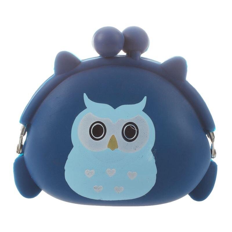 Силиконовый гелевый кошелек с рисунком совы для девочек, ключи, монеты, кошелек - Цвет: Blue