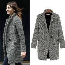 2019 Fashion Long Houndstooth Woolen Women Coat Female Plus Size Winter Plaid Jacket Wool Blend Cape Coat Tweed Outwear 6XL drop shoulder plaid tweed plus size coat