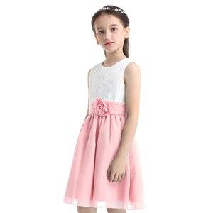 Image 2 - Iiniim ילדי העשרה שרוולים קפלים פרח ילדים שמלות בנות נסיכת שמלת חתונת Vestidos מסיבות יום הולדת שמלה