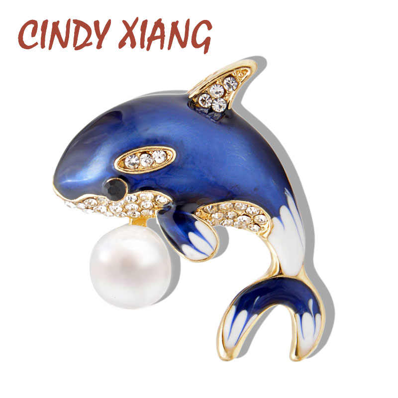 CINDY XIANG New Arrival Enamel Cute Blue Dolphin Brooches for Women Rhinestone Inlay Winter Coat Hat Brooch Pins Fashion Jewelry